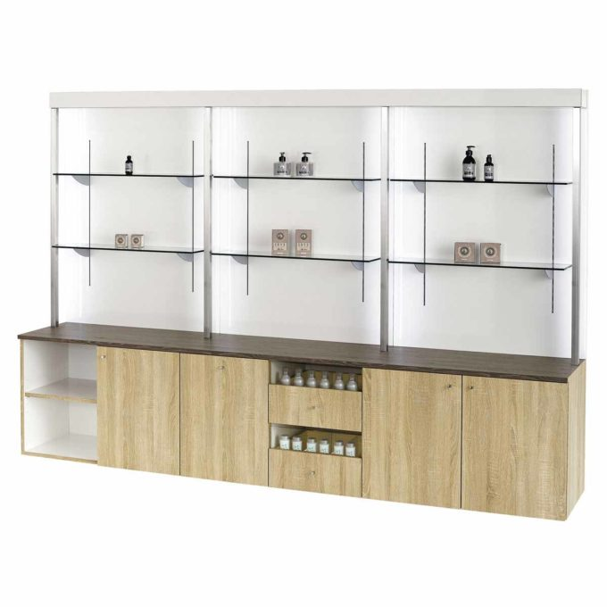 grand laboratoire de coiffure en finitions stratifié effet bois naturel, une structure murale avec étagère en verre, multiples rangements et tiroirs