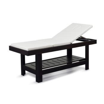 Table de massage 3 positions en bois massif foncé et verni avec étagère et matelas en mousse épaisse et skai blanc