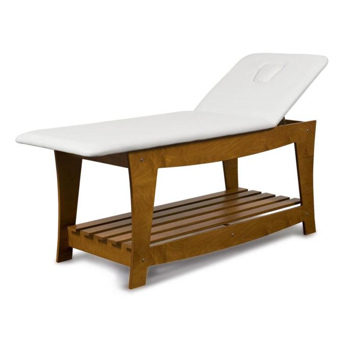 Table de massage soin spa et détente en bois vernis avec lit en skai blanc et ouverture pour visage