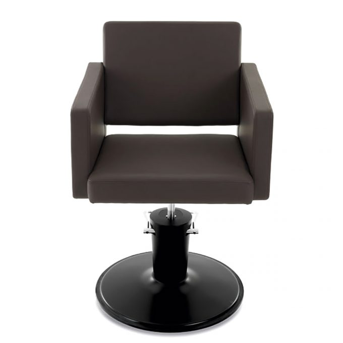 fauteuil de coiffure chocolat avec effet capitonné sur les accoudoirs