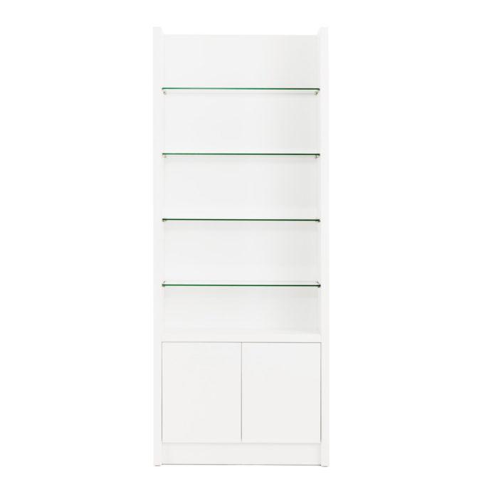 Meuble avec étagère en verre et deux portes pour rangements et présentation des produits en vente, structure en bois laminé blanc