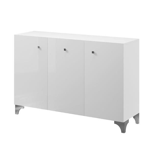 Meuble bas laboratoire avec trois placards, structure en bois blanc ou gris portes blanches, pieds en métal