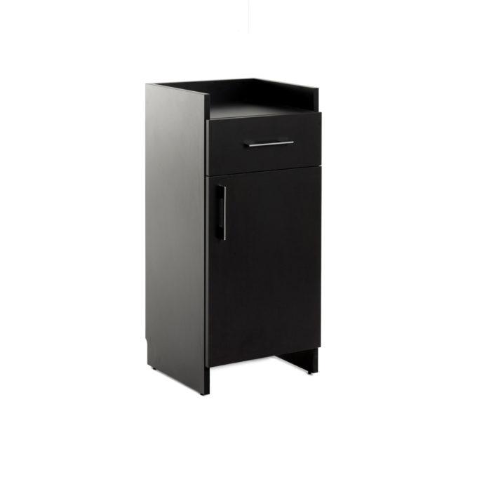 meuble de rangement en stratifié noir avec un tiroir et un placard pour ranger matériel de coiffure