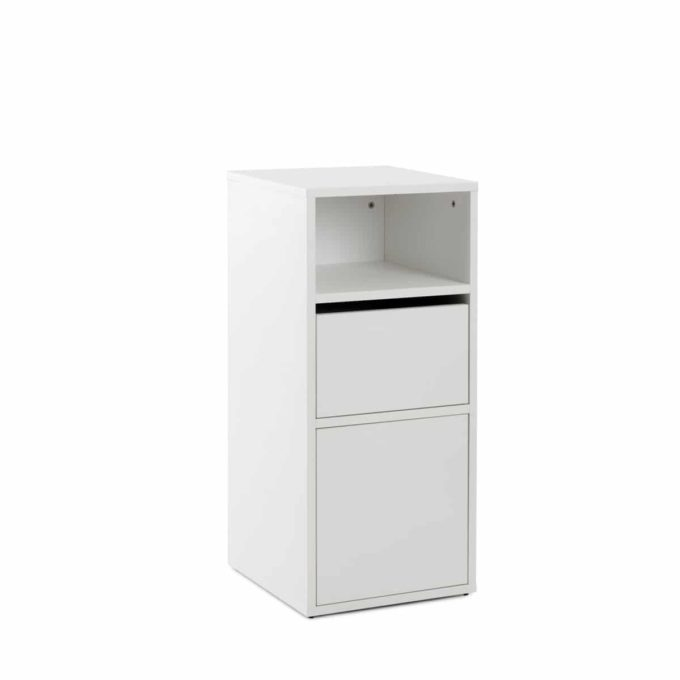Meuble blanc de rangement portes push avec porte séchoir