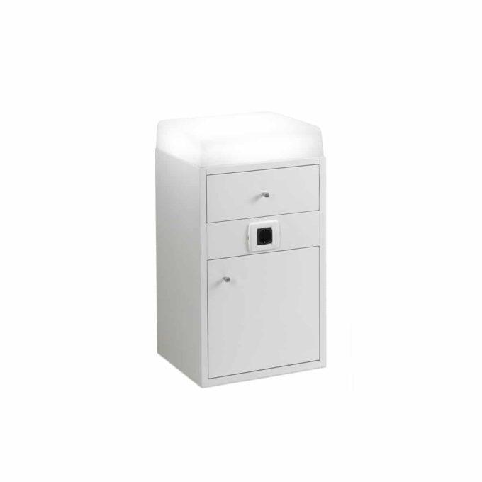 meuble de rangement avec placard et un tiroir, une prise électrique intégré avec le dessus en plexiglas rétro éclairé