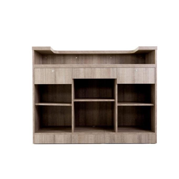 meuble de réception caisse avec 2 tiroirs à clés et étagères