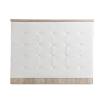 Meuble de réception caisse en stratifié bois avec façade capitonné en skai blanc