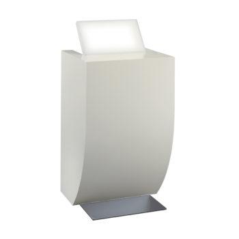 Meuble réception caisse pour petits espaces, avec rangements, tiroir et tablette, blanc laqué