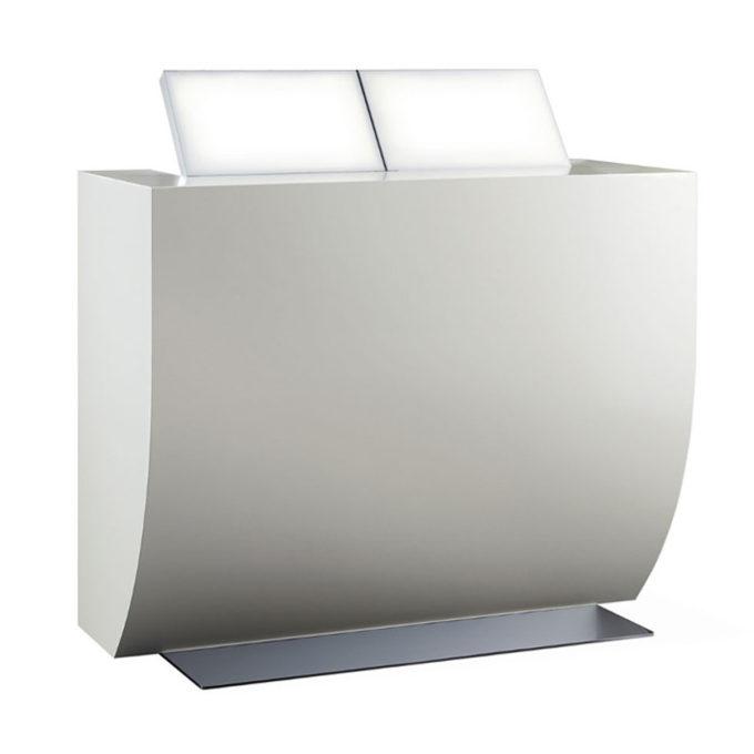 Meuble caisse bois laqué blanc avec structure métal et 2 tablettes relevables