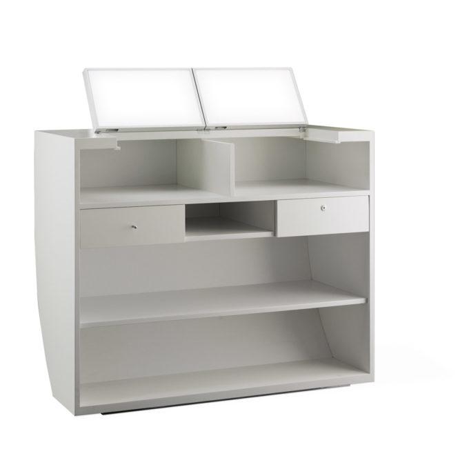 Meuble caisse Pod avec étagères et tiroirs et tablettes relevables