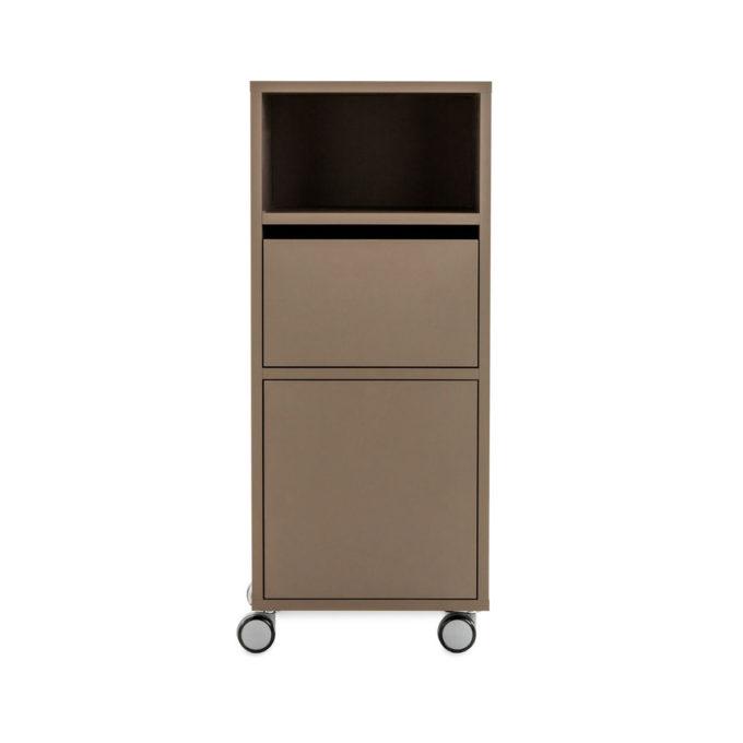 meuble à roulette rangement couleur marron portes push