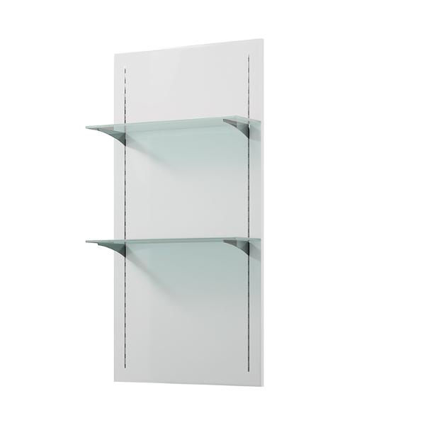 Panneau murale blanc avec 2 étagères en verre transparent pour exposition produits de coiffure