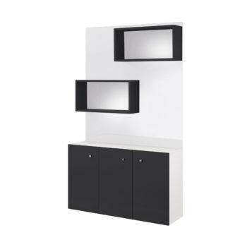 meuble de vente en bois stratifié avec trois portes noires et étagères sur panneau mural blanc