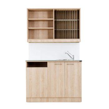 Laboratoire avec étagères et placards, évier en inox, kit coloration, en bois stratifié avec crédence blanche