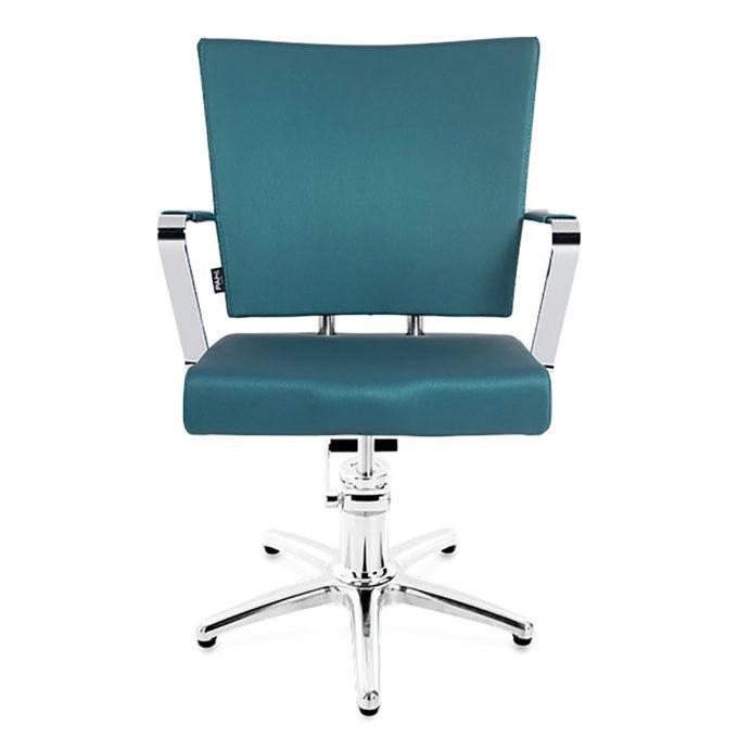 fauteuil de coiffure pompe hydraulique métal et bleu