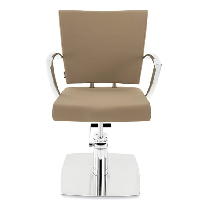 fauteuil de coiffure couleur sable et base en métal brillant
