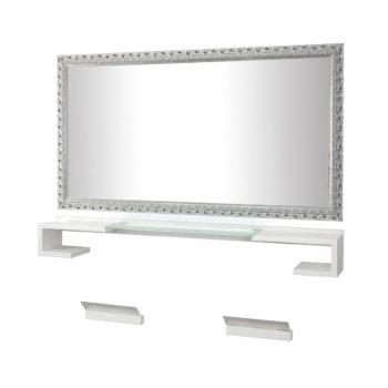 Coiffeuse deux places avec repose pieds, structure stratiée deux places avec tablette en verre avec lumière intégré, grand miroir avec contour en bois décoré argenté