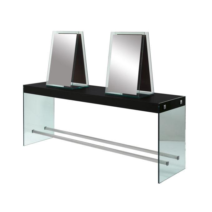 meuble de coiffure avec grands miroirs 4 places, structure en verre tempéré avec plan de travail en bois stratifié noir, reposes pieds en métal brillant