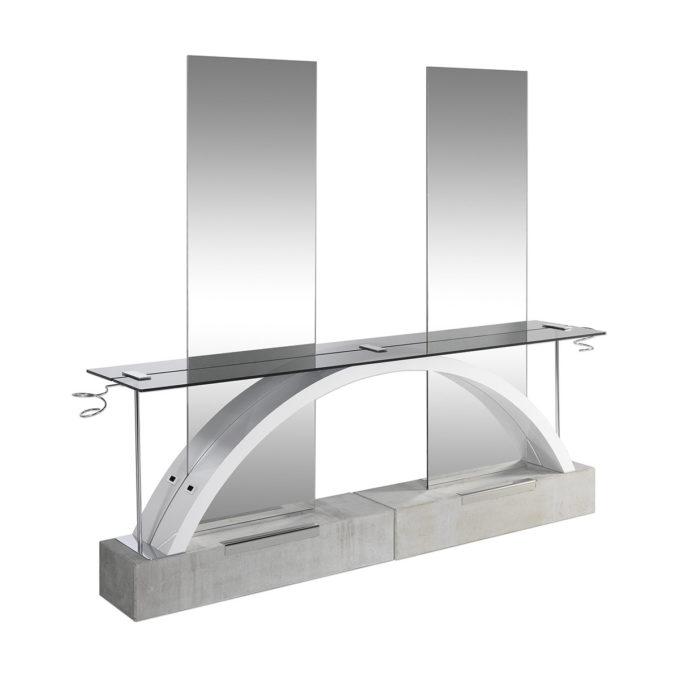 Coiffeuse deux places design moderne et architecturale structure en béton brut, avec arc en bois stratifié blanc, tablette en verre fumé, porte séchoir et grands miroirs