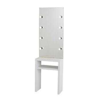 Coiffeuse et maquilleuse en bois stratifié blanc avec grand miroir et spots en egoluce