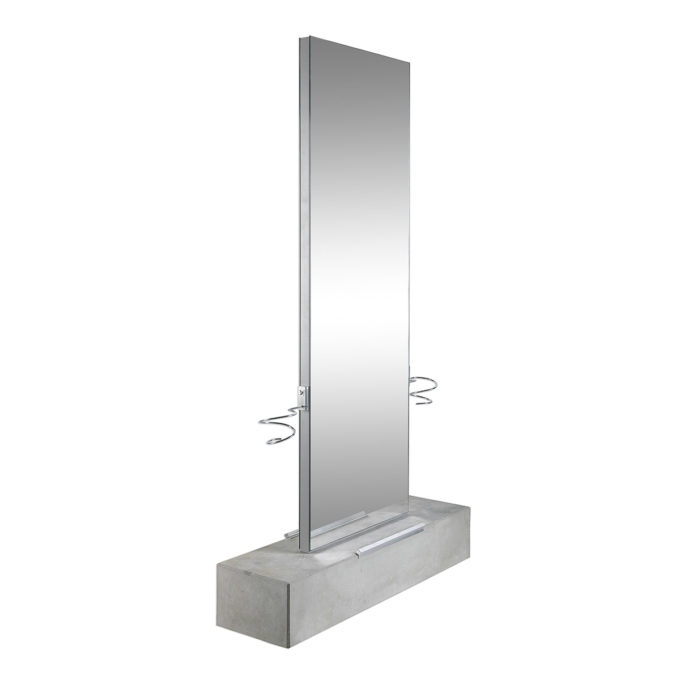 Poste de coiffure 2 places grand miroir avec base en béton brut avec repose pieds et portes séchoirs en acier