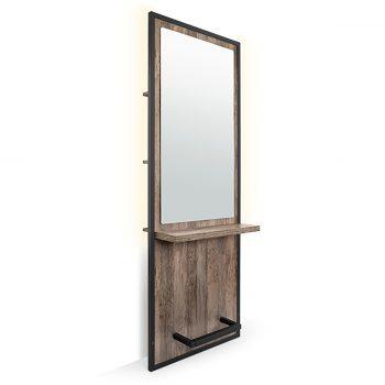 Poste de coiffage en métal noir et stratifié couleur bois brut, chêne, avec repose pieds et grand miroir, éclairage LED