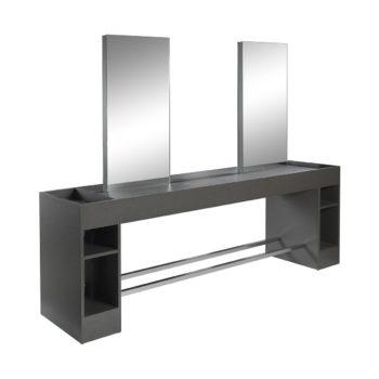 Poste de coiffage 4 place en bois stratifié noir brillant avec des grands miroirs et rangements, reposes pieds en métal