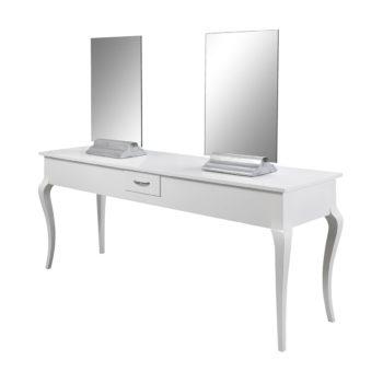 Coiffeuse 4 places finitions bois laqué blanc avec tiroirs et grands miroirs posés sur socle, chic et luxueux