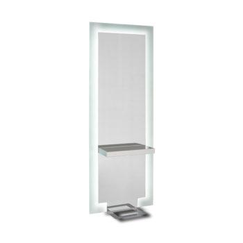 Coiffeuse complète avec tablette en verre transparent, contour acide, grand miroir avec éclairage, repose-pieds