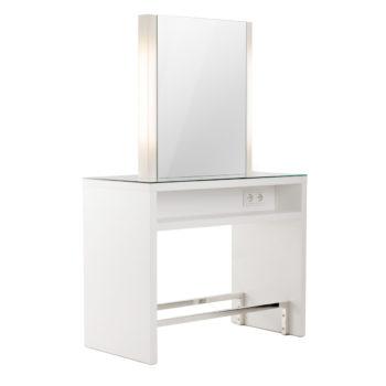 Coiffeuse en îlot 2 place grand miroir double sur meuble spacieux en structure stratifié avec prises double et repose pied chromé