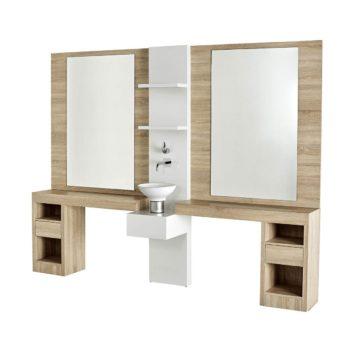 grand poste de coiffage et barbier en bois stratifié avec deux grands miroirs des casiers et étagères de rangement et 1 évier