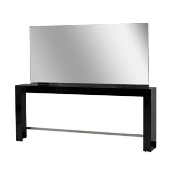 Poste de coiffure deux places en bois laqué noir brillant avec un grand miroir et repose pieds en acier