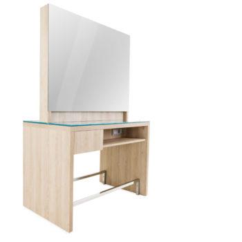 coiffeuse en îlot 2 place avec grand meuble en bois stratifié couleur naturelle, grand miroir carré, prises électrique et tiroirs de rangement