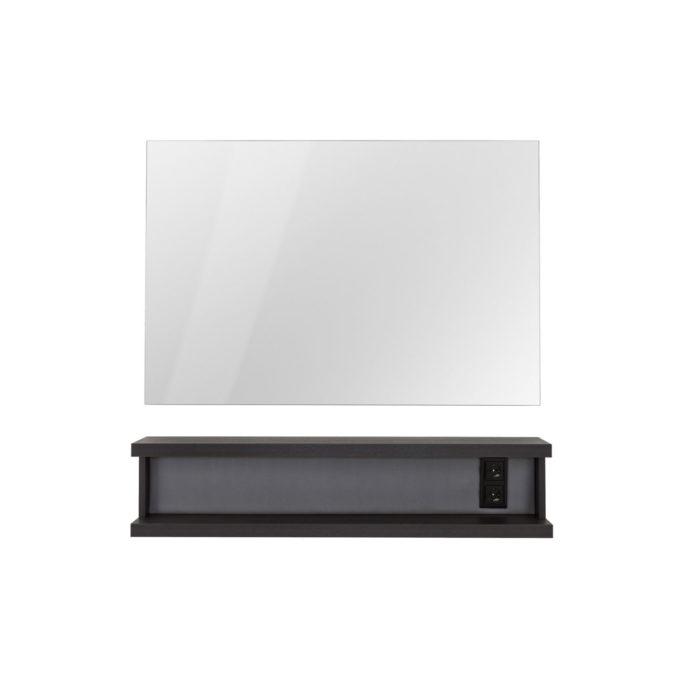 Coiffeuse murale noir avec grand miroir rectangle argenté et double prises noires