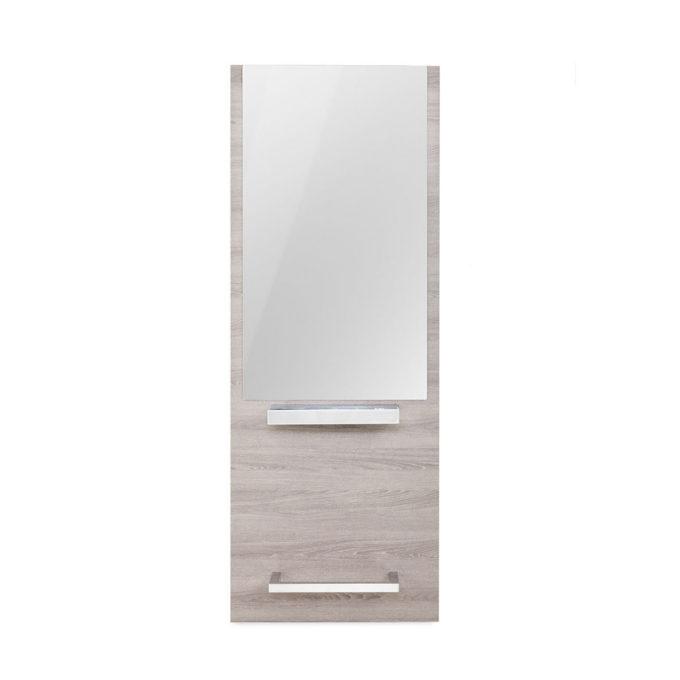 Poste de coiffage économique et fonctionnel avec struture murale en bois stratifié couleur bois clair, grand miroir tablette en inox et repose-pieds