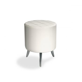 tabouret sur pied en métal brillant rond en mousse épaisse avec tapisserie skai blanc quadrillé