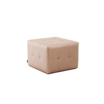 Pouf carré pour salon de coiffure couleur crème effet capitonné