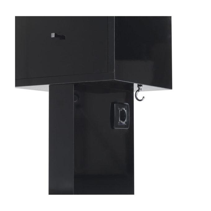 rangement totem noir laqué avec tiroir prise électrique et crochet