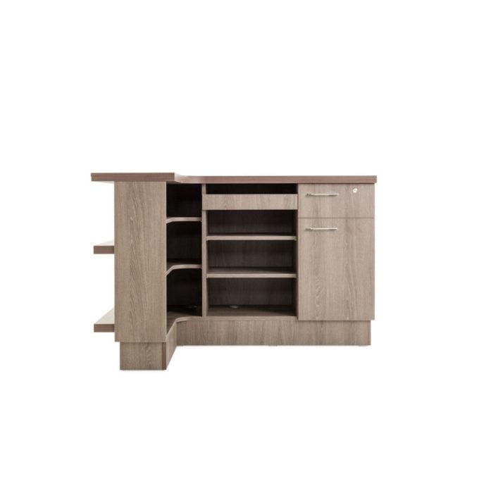 meuble de réception arabic en bois stratifié en angle avec rangements et tiroirs