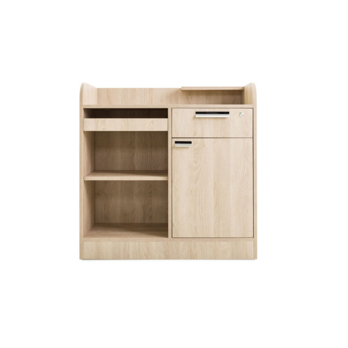 meuble caisse avec rangements, tiroir, tablette pour clavier, placard et tiroir