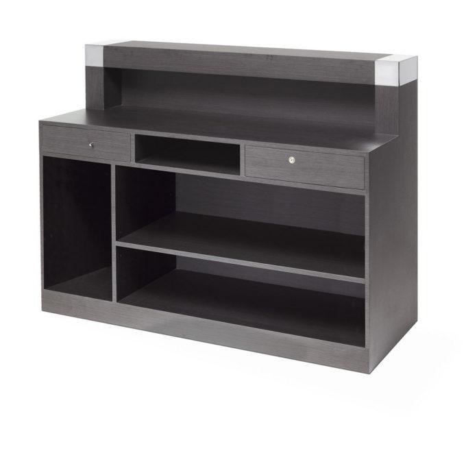 réception caisse avec tiroir clé et étagères de rangement