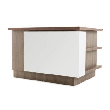 Meuble caisse en bois stratifié avec devanture en extension blanc et multiples rangements