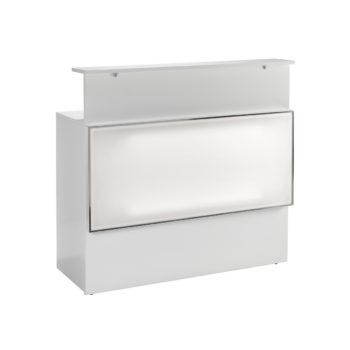 Meuble de réception caisse, en bois blanc avec cadre rétro-éclairé sur la partie frontale, tiroirs et rangements