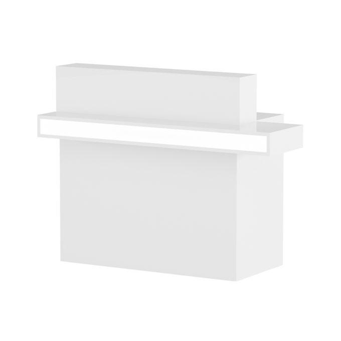 Meuble de réception caisse en bois laminé blanc avec lumière led sur le devant, rangements multiples