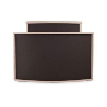 Meuble de réception caisse en bois stratifié avec partie frontale en skai marron