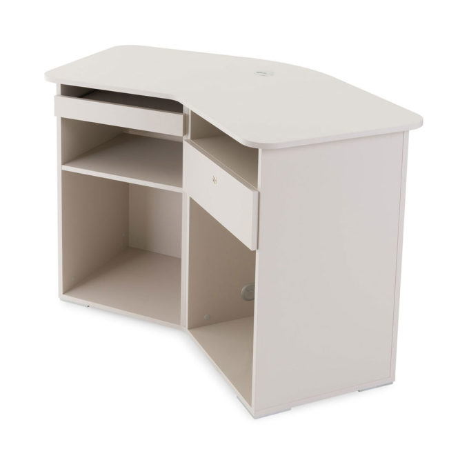 meuble caisse divine avec tiroir caisse à clé, tiroir pour clavier de pc et étagères de rangement