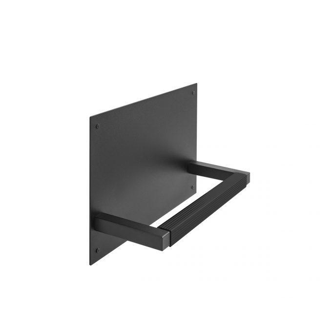 repose pied mural métal noir mate