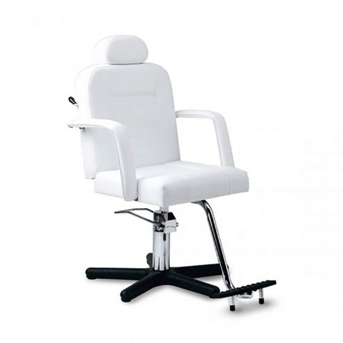Fauteuil pour institut de beauté blanc avec accoudoirs pied étoile, repose pieds en aluminium et pompe hydraulique