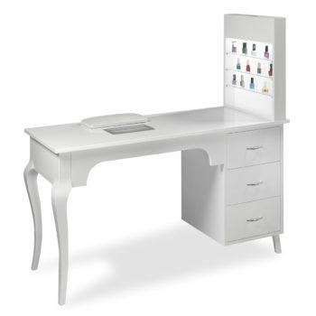 Table de manucure avec rangements, aspirateur et vitrine d'exposition lumineuse pour vernis à ongle