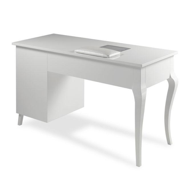 table de manucure blanche avec aspirateur